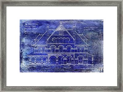 1891 Key West Custom House Blueprint Framed Print by Jon Neidert