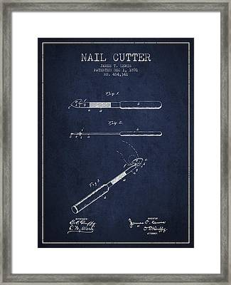 1891 Nail Cutter Patent - Navy Blue Framed Print by Aged Pixel