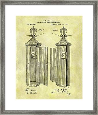 1891 Police Call Box Patent Framed Print
