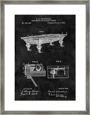 1891 Pool Table Patent Framed Print