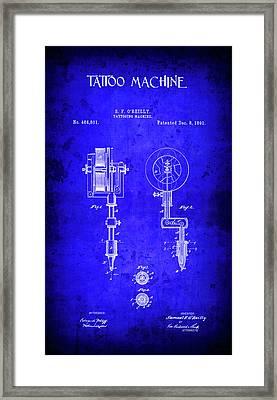 1891 Tattoo Machine Patent Blueprint Framed Print