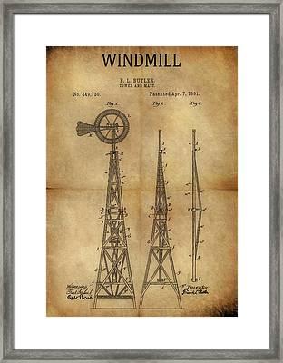 1891 Windmill Patent Framed Print