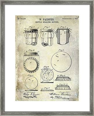 1892 Bottle Cap Patent  Framed Print by Jon Neidert
