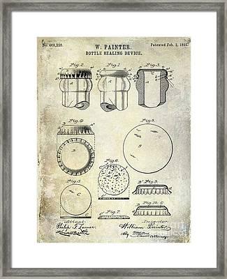 1892 Bottle Cap Patent  Framed Print