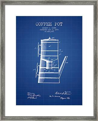 1892 Coffee Pot Patent - Blueprint Framed Print by Aged Pixel