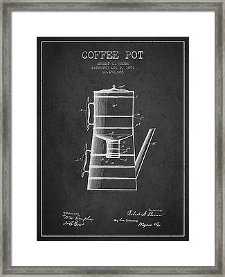 1892 Coffee Pot Patent - Charcoal Framed Print by Aged Pixel