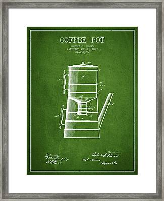 1892 Coffee Pot Patent - Green Framed Print by Aged Pixel