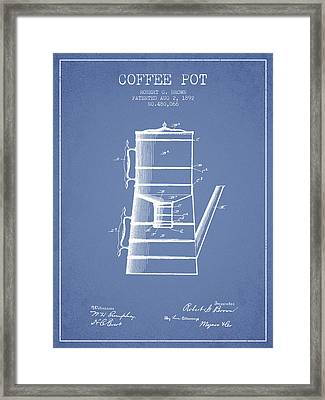 1892 Coffee Pot Patent - Light Blue Framed Print by Aged Pixel