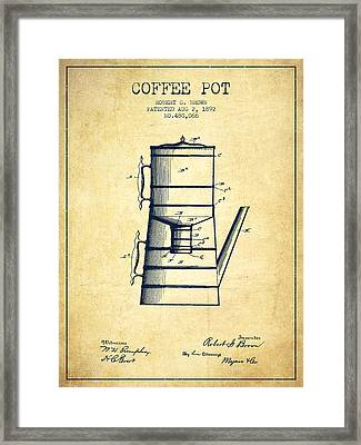 1892 Coffee Pot Patent - Vintage Framed Print by Aged Pixel