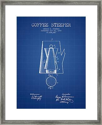 1892 Coffee Steeper Patent - Blueprint Framed Print