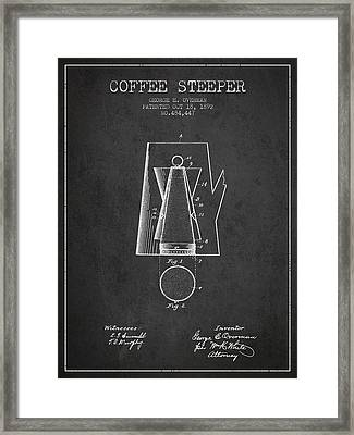 1892 Coffee Steeper Patent - Charcoal Framed Print
