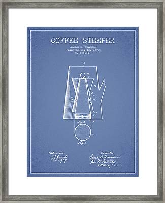 1892 Coffee Steeper Patent - Light Blue Framed Print