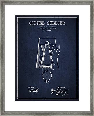1892 Coffee Steeper Patent - Navy Blue Framed Print by Aged Pixel