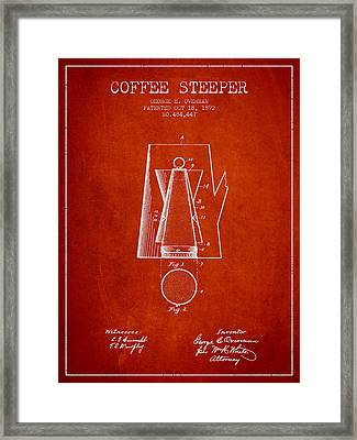 1892 Coffee Steeper Patent - Red Framed Print by Aged Pixel