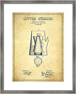 1892 Coffee Steeper Patent - Vintage Framed Print by Aged Pixel