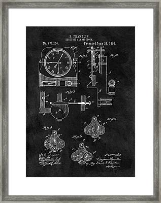 1892 Electric Alarm Clock Framed Print by Dan Sproul