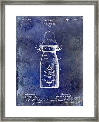 1892 Jar Patent  Blue Framed Print