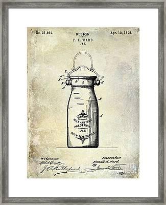 1892 Jar Patent  Framed Print