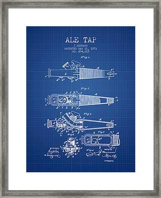 1893 Ale Tap Patent - Blueprint Framed Print by Aged Pixel
