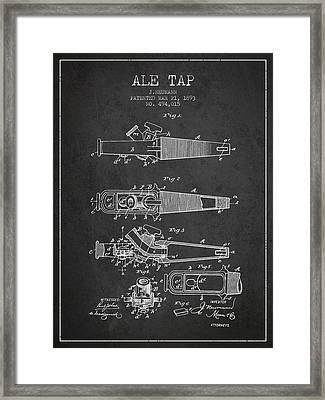 1893 Ale Tap Patent - Charcoal Framed Print by Aged Pixel