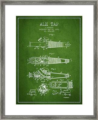 1893 Ale Tap Patent - Green Framed Print by Aged Pixel