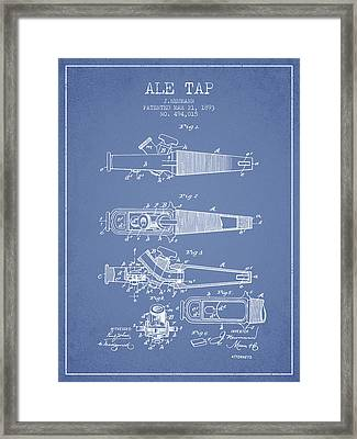 1893 Ale Tap Patent - Light Blue Framed Print by Aged Pixel
