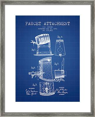 1893 Faucet Attachment Patent - Blueprint Framed Print by Aged Pixel