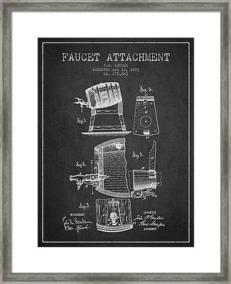 1893 Faucet Attachment Patent - Charcoal Framed Print by Aged Pixel