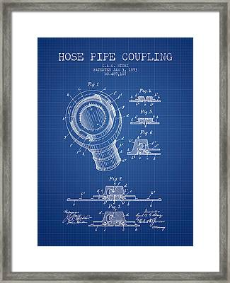 1893 Hose Pipe Coupling Patent - Blueprint Framed Print by Aged Pixel