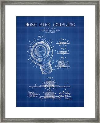 1893 Hose Pipe Coupling Patent - Blueprint Framed Print