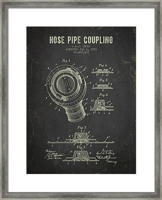 1893 Hose Pipe Coupling Patent- Dark Grunge Framed Print