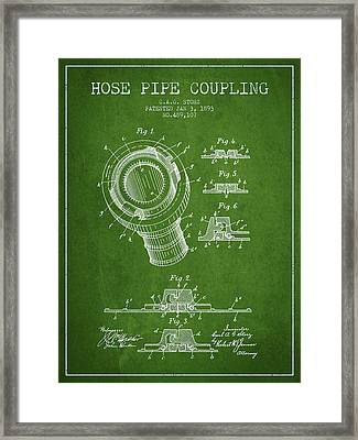 1893 Hose Pipe Coupling Patent - Green Framed Print by Aged Pixel