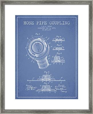 1893 Hose Pipe Coupling Patent - Light Blue Framed Print by Aged Pixel