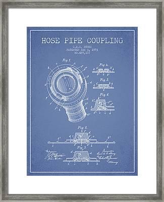 1893 Hose Pipe Coupling Patent - Light Blue Framed Print