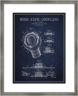 1893 Hose Pipe Coupling Patent - Navy Blue Framed Print