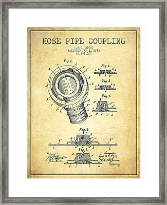 1893 Hose Pipe Coupling Patent - Vintage Framed Print