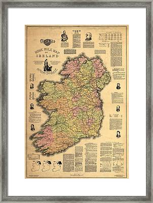 1893 Ireland Vintage Map Framed Print by Dan Sproul