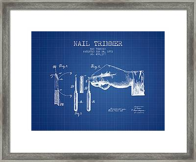 1893 Nail Trimmer Patent - Blueprint Framed Print by Aged Pixel
