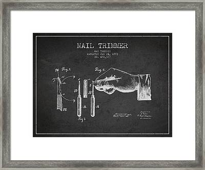 1893 Nail Trimmer Patent - Charcoal Framed Print by Aged Pixel
