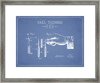 1893 Nail Trimmer Patent - Light Blue Framed Print by Aged Pixel