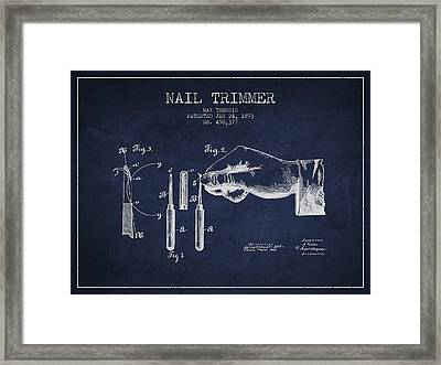 1893 Nail Trimmer Patent - Navy Blue Framed Print by Aged Pixel