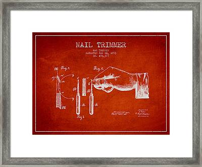 1893 Nail Trimmer Patent - Red Framed Print by Aged Pixel