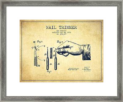 1893 Nail Trimmer Patent - Vintage Framed Print by Aged Pixel