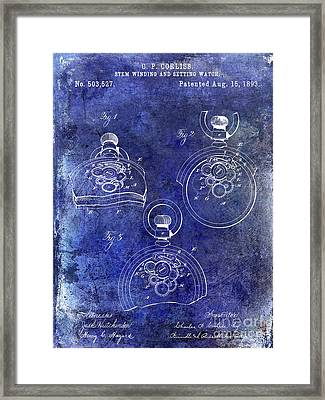 1893 Pocket Watch Patent Blue Framed Print