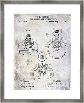 1893 Pocket Watch Patent Framed Print by Jon Neidert
