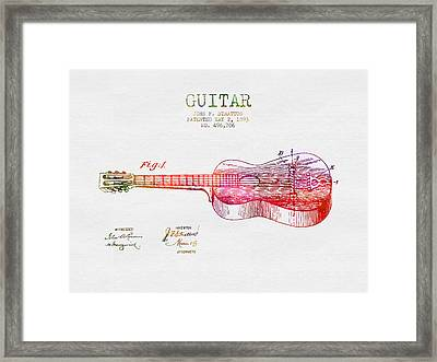 1893 Stratton Guitar Patent - Color Framed Print by Aged Pixel