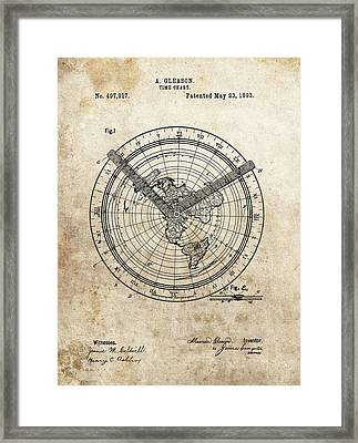1893 Time Chart Patent Framed Print