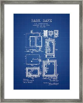 1894 Bank Safe Patent - Blueprint Framed Print by Aged Pixel
