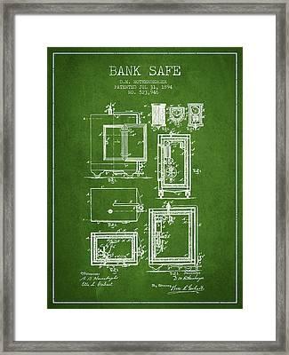 1894 Bank Safe Patent -green Framed Print