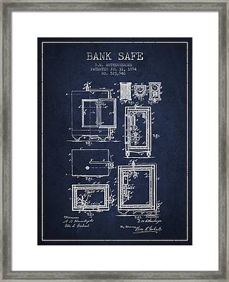 1894 Bank Safe Patent - Navy Blue Framed Print by Aged Pixel